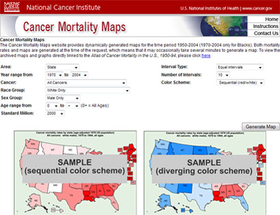 Image of the Cancer Mortality Maps website home page