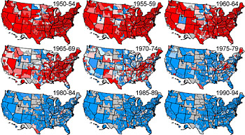 Example of interactive US maps of cancer mortality /