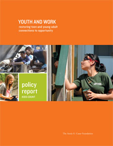 Report cover of Youth and Work, a Kids Count policy report. Photos show young people working on a car, on a building, and on writing.