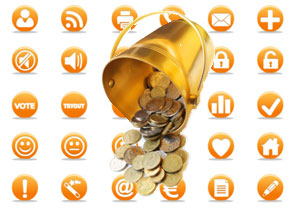 Images of social media logos, with a bucket of coins pouring over them.