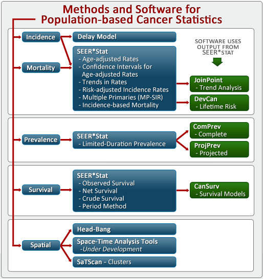 Diagram of Statistical Methods and Software for Population-based Cancer Statistics