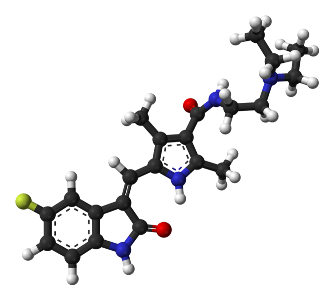 Colored image of ball-and-stick model of sunitinib molecule, the white balls are hydrogen, the black are carbon, the blue are nitrogen, and the red are oxygen, the green is fluorine.