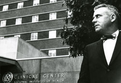 Congressman John Edward Fogarty outside the National Institutes of Health Clinical Center building