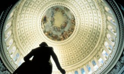 A detail of the Brumidi frescos that decorate the interior of the U.S. Capitol Building dome.