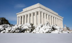 A snowy day in Washington creates a postcard-perfect scene against the winter whites of the city's iconic monuments and memorials.