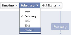 "The new Facebook Timeline interface showing the ""Started"" date."