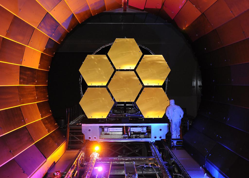 Image description: The flight mirrors for the James Webb Space Telescope undergo cryogenic testing at NASA Marshall. Photo by Ball Aerospace.