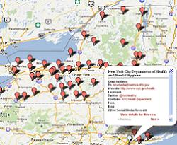 NY map with public health social media directory points