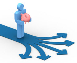 standing figure holding a piggy bank with directional arrows in front of him