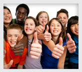 Teens cheering with thumbs up