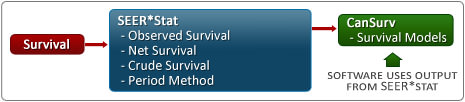 Diagram of Cancer Survival Methods and Software