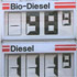 Image of a gas pump showing biodiesel costing less than conventional diesel