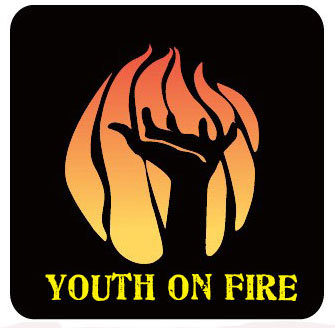Youth on fire logo, showing a hand reaching up through a flame.