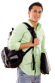 Photograph of a teen boy carrying a duffel bag and school books.