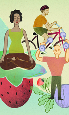 illustration of a woman resting, an older many lifting weights and another man bicycling