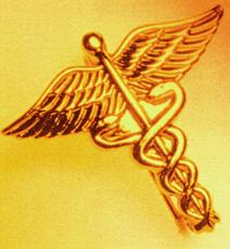 Photograph of a caduceus symbol