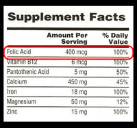 nutrition label with folic acid highlighted