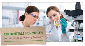 Photograph of a young woman in a science lab with an adult mentor. Title card reads Credentials for Youth: Success in the 21st Century Economy.