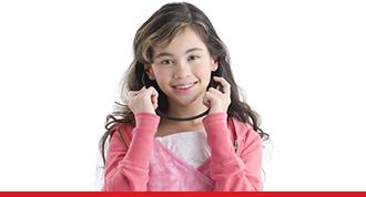 Girl holding earphones