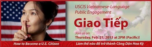 Vietnamese woman, American Flag, Giao Tiep information