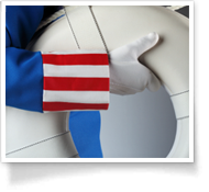 This is an image of a patriotic arm holding a life saver