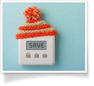 This is an image of a thermostat with the word Save on the screen