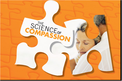 Logo for the Science of Compassion: Future Directions in End-of-Life and Palliative Care Summit event - Puzzle piece image with couple hugging