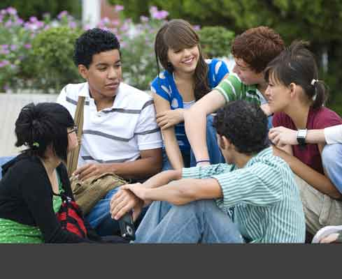 Group of teens talking
