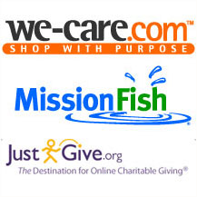 Images of We-Care.com, MissionFish, and Just Give logos.