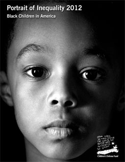 Cover of report, showing the face of a young African American child.
