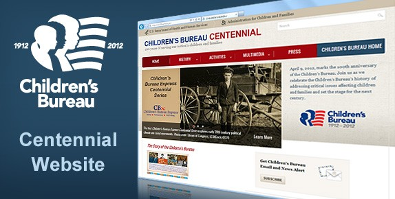 Graphic of website in a browser with CB centennial logo to the left
