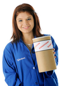 Photograph of a teen girl holding out a donations box.