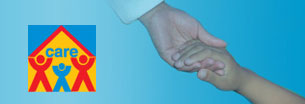 CARE: Children and Residential Experiences, Image shows an adult hand reaching down to take a child's hand.