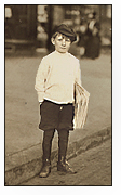 Lewis Hine photograph of news boy