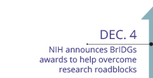 December 4, NIH announces BrIDGs awards to help overcome research roadblocks