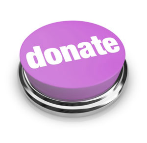 Image of a purple button with the word donate on it.
