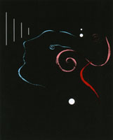 Conference artwork depicting an abstract human face receiving a signal.