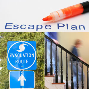 Image of an escape plan, an evacuation route sign, and young people rushing down stairs.