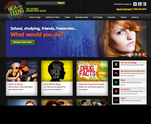 Teens site home page