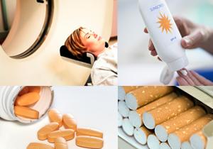 sunscreen, pills, cigarettes, medical imaging device