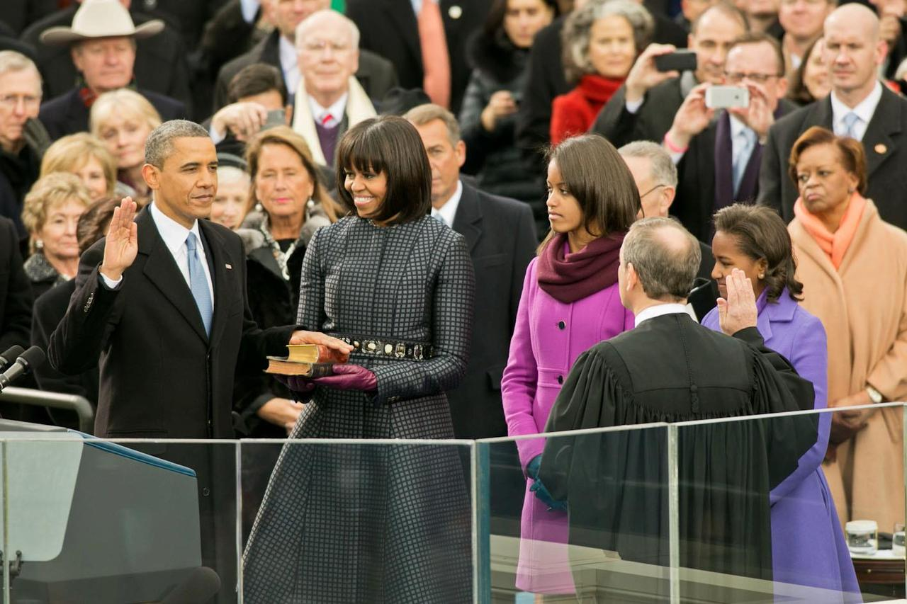 Image description: Supreme Court Chief Justice John Roberts administers the oath of office to President Barack Obama during the Inaugural swearing-in ceremony at the U.S. Capitol yesterday. Read the official transcript or watch the swearing-in ceremony. Official White House photo by Sonya N. Hebert