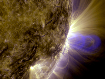 Image of magnetic loops on the sun, captured by NASA's Solar Dynamics Observatory (SDO). It has been processed to highlight the edges of each loop to make the structure more clear. Image Credit: NASA/Goddard Space Flight Center/SDO