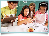 Kids conduct science experiments.