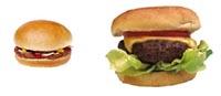 Small hamburger next to large hamburger