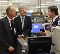 Sen. Jerry Moran (R-Kan.), Francis Collins, and Christopher P.  Austin