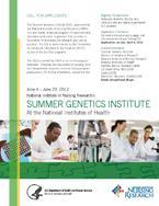 2013 NINR Summer Genetics Institute flyer
