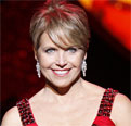 Katie Couric wears a red dress at Mercedes-Benz Fashion Week 2009