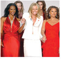 Several celebrities wear red dresses to promote women's heart health at Olympus Fashion Week 2004