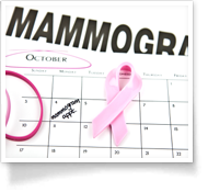 This is an image of a calendar depicting October with the word mammogram in the background.