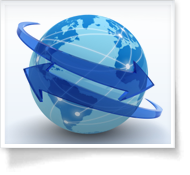 A blue globe with two arrows around it
